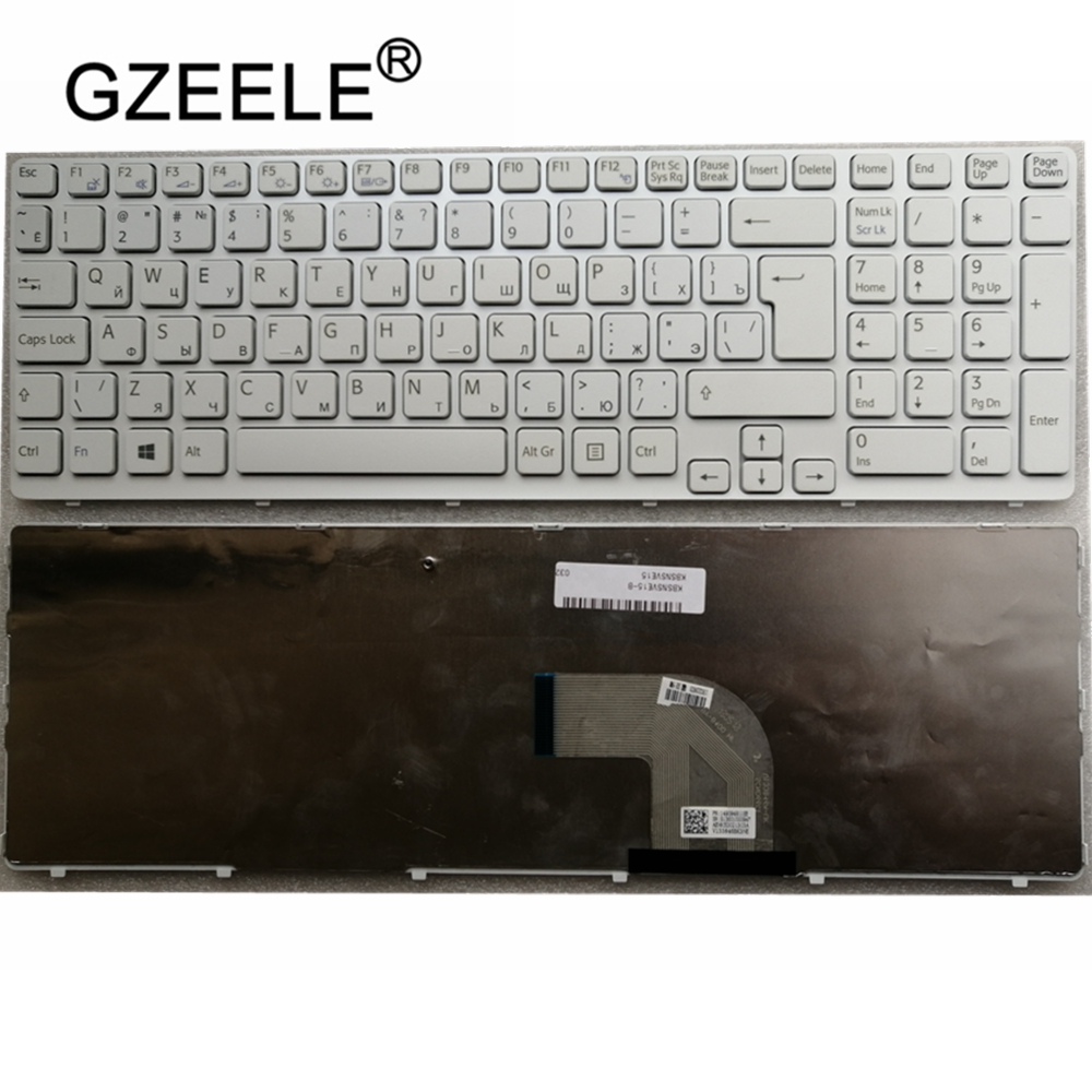 GZEELE New For SONY VAIO E15 SVE 15 SVE15 149032851RU AEHK57002303A MP-11K73SU-920 Keyboard RU Russian White With Frame