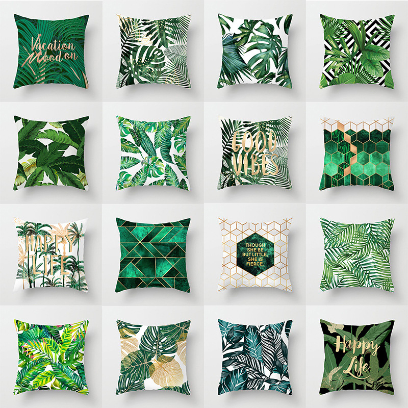 ZENGIA Nordic Tropical Plant Green Cushion Covers 45x45cm Polyester Leaf Pillow Cover Decorative Pillows For Sofa Throw Pillows