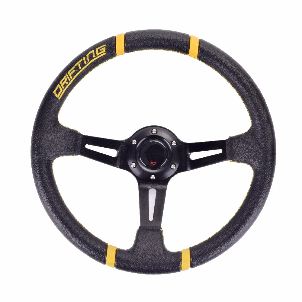 Universal 350MM 14 pulgadas volante deportivo Deep Corn Drifting volante de carreras soporte de aluminio con botón de cuerno