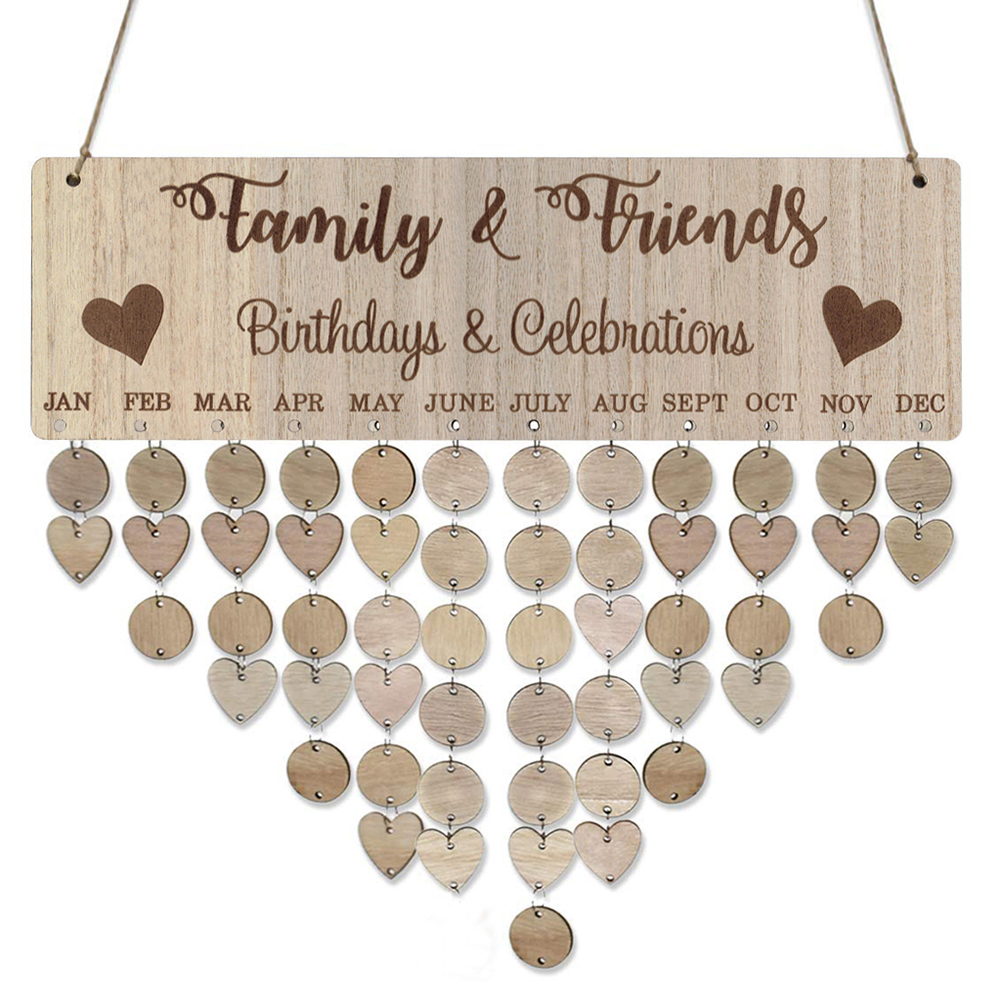 40cm X 12cm DIY Families Friends Birthday Celebration Calendar Reminder Planner Board Decor Beautiful Home Ornament