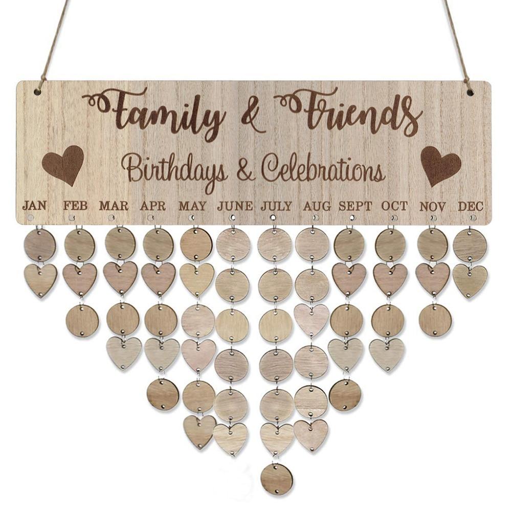 40cm X 12cm DIY Families Friends Birthday Celebration Calendar Reminder Planner Board Decor Beautiful Home Ornament