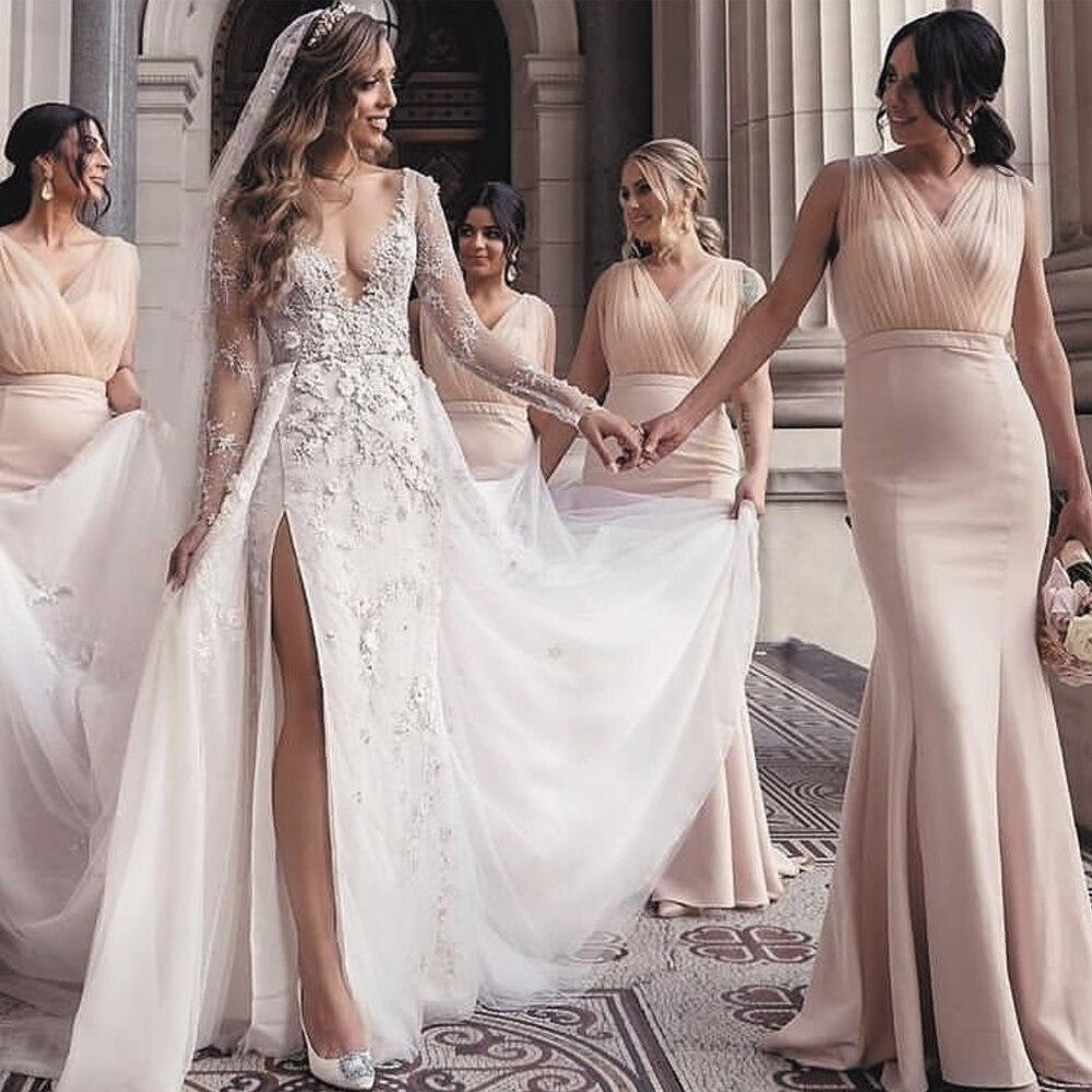 SuperKimJo Champagne Bridesmaid Dresses 2020 Mermaid V Neck Elegant Simple Custom Dress For Wedding Party Vestido Longo
