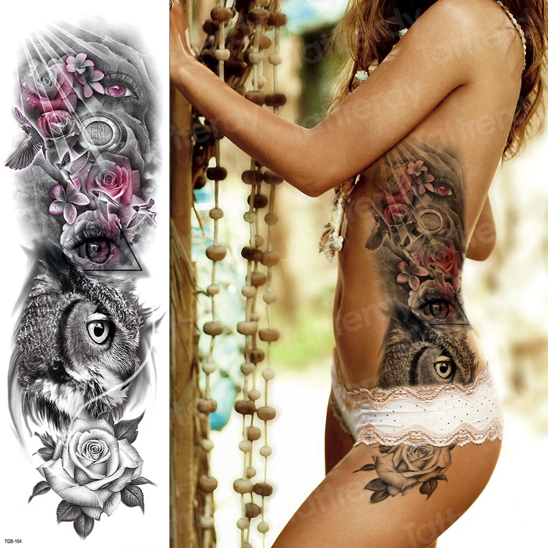 Sexy Temporary Tattoo Large Black Waterproof Tatoo Rose Owl Girl Sticker Tattoo & Body Art Lion Tattoos Designs For Women Men
