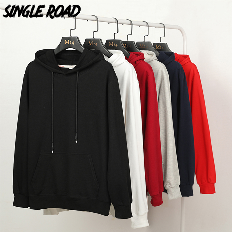 SingleRoad Men's Hoodies Men 97% Cotton Plain Solid Casual Sweatshirts Japanese Streetwear Black Hoodie Men Sweatshirt Male