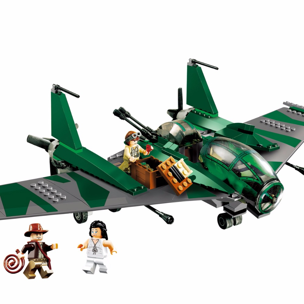 31002 Legoinglys Indiana Jones Fight On The Flying Wing Building Blocks Bricks Toys Gift Brinquedos Educational Toys