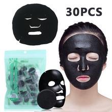 лучшая цена 30PCS Black Compressed Paper Mask Disposable Face Mask Natural Bamboo Charcoal Black Wrapped Skin Care DIY Makeup Beauty Masks