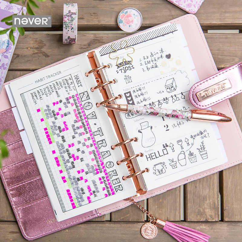 Mai Cancelleria Rosa Piano libro Sei Fori Sciolto Foglia di A6 Notebook A Mano Libro Mastro Agenda 2020 Pianificatore Organizzatore Planner 2020