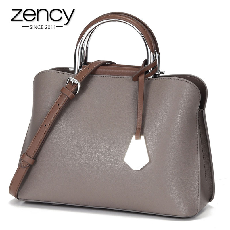 Zency Daily Casual Tote Bag Fashion Brown Women Handbag 100% Genuine Leather High Quality Black Bags Large Capacity Shoulder Bag