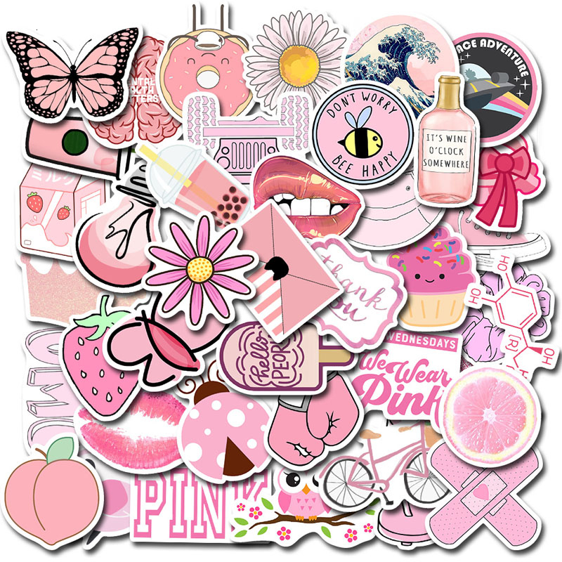 50PCS Cartoon Pink INS Style Vsco Girl Stickers for Laptop Moto Skateboard Luggage Refrigerator Notebook Laptop Toy Sticker