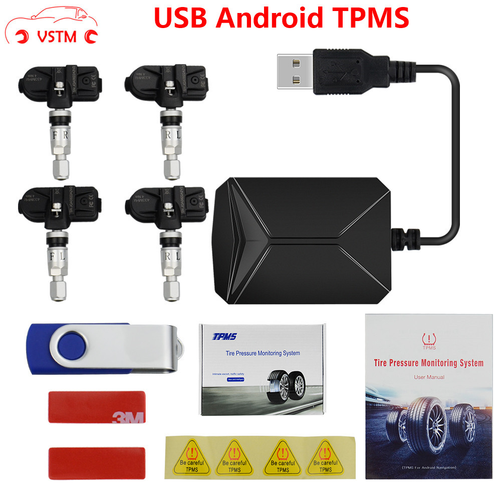 USB Android TPMS Tire Pressure Monitoring System Display Alarm 4 Sensors for Android Car DVD Radio Multimedia Player