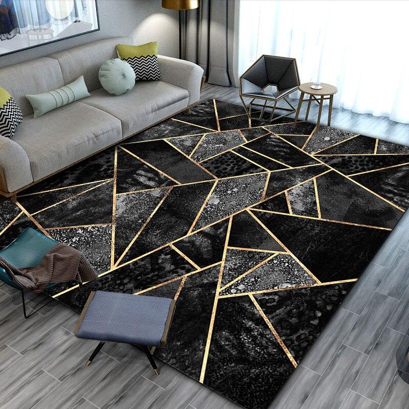 Черные Золотые Мраморные современные роскошные ковры для гостиной, спальни, большой площади, зеленые геометрические 3D печатные ковры, домашний коврик