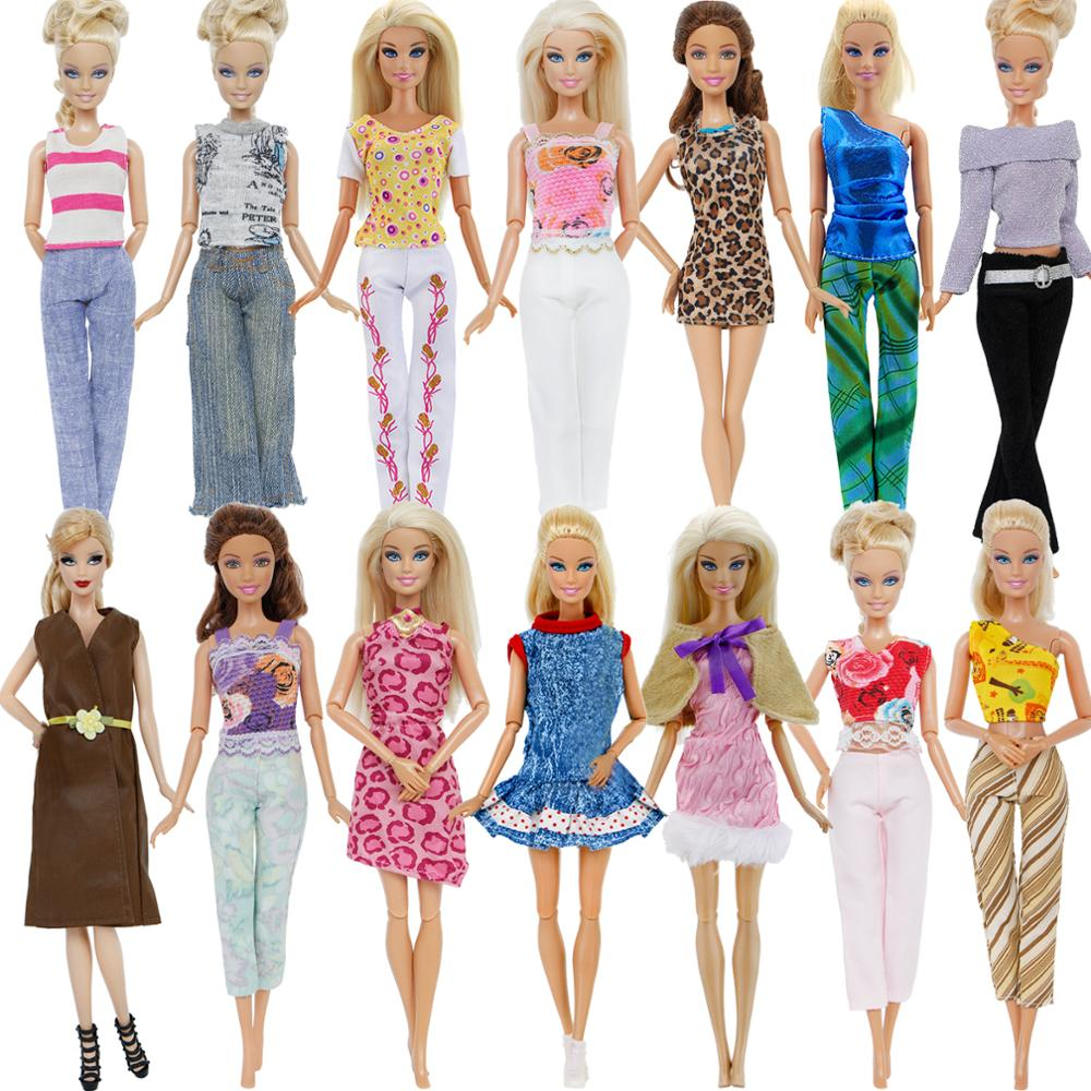 Wholesale Random 1x Outfit Tops Pants Trousers Blouse Skirt Dress Daily Casual Doll Clothes For Barbie Dollhouse Accessories Toy