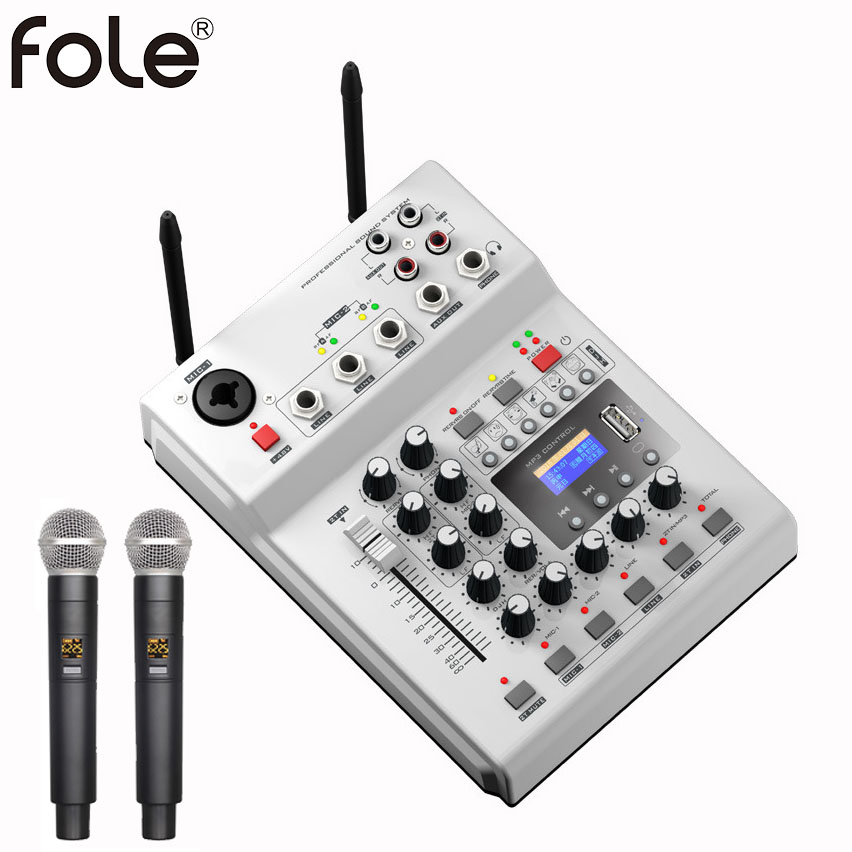 FOLE F-12T-USB Wireless Microphone KTV Stage DJ Audio Mixer Mixing Console With Display With 2 Microphone 48V Phantom Power