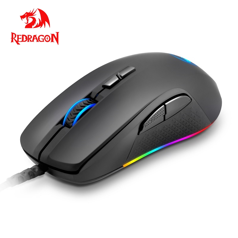 Redragon Stormrage M718 RGB USB Wired Gaming Computer Mouse 10000 DPI 8 Buttons 6 Color Backlit Programmable Ergonomic For Gamer