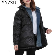 YNZZU 2019 Winter Denim patchwork Women Down jacket Thick warm Turn down collar coat Long sleeve Chic Female Overcoat YO914