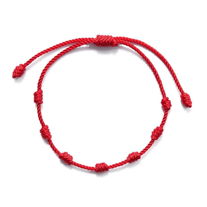Lucky Simple Red Rope Bracelet For Women Handmade Woven 7 knots String Bracelet Men Jewelry Accessory