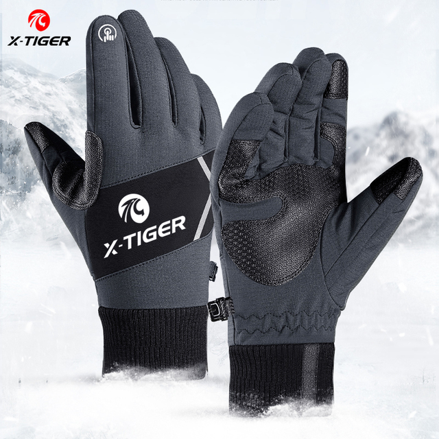 X TIGER Touch Screen Bike Gloves Winter Thermal Windproof Warm Full Finger Cycling Gloves Waterproof Bicycle Glove For Men Women