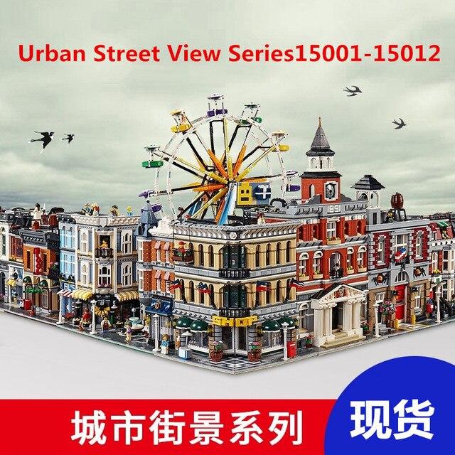 Juego de bloques de construcción de la serie urbana Street View 15001, 15002, 15003, 15004, 15005, 15006, 15007, 15008 y 15009 de 15010 a 12