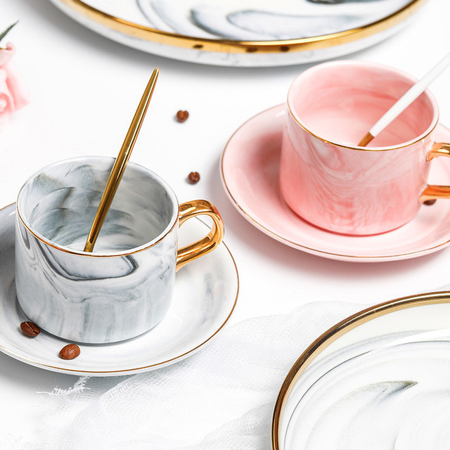 Creative European Ceramics Marble Coffee Mugs Set Porcelain Milk Tea Cup For Couple Wedding Lover's Drinkware with Gift Box