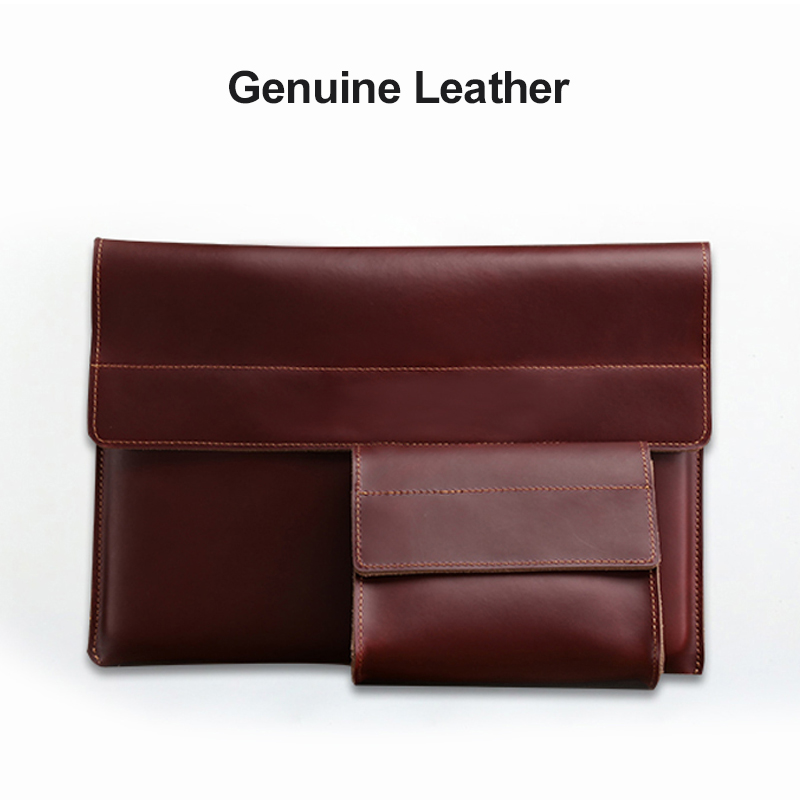 Genuine Leather <font><b>Laptop</b></font> Bag For Macbook Air Pro 11.6 12 13.3 <font><b>15</b></font>.6 <font><b>inch</b></font> <font><b>Sleeve</b></font> for Xiaomi Dell Asus Microsoft Notebook Mouse Case image
