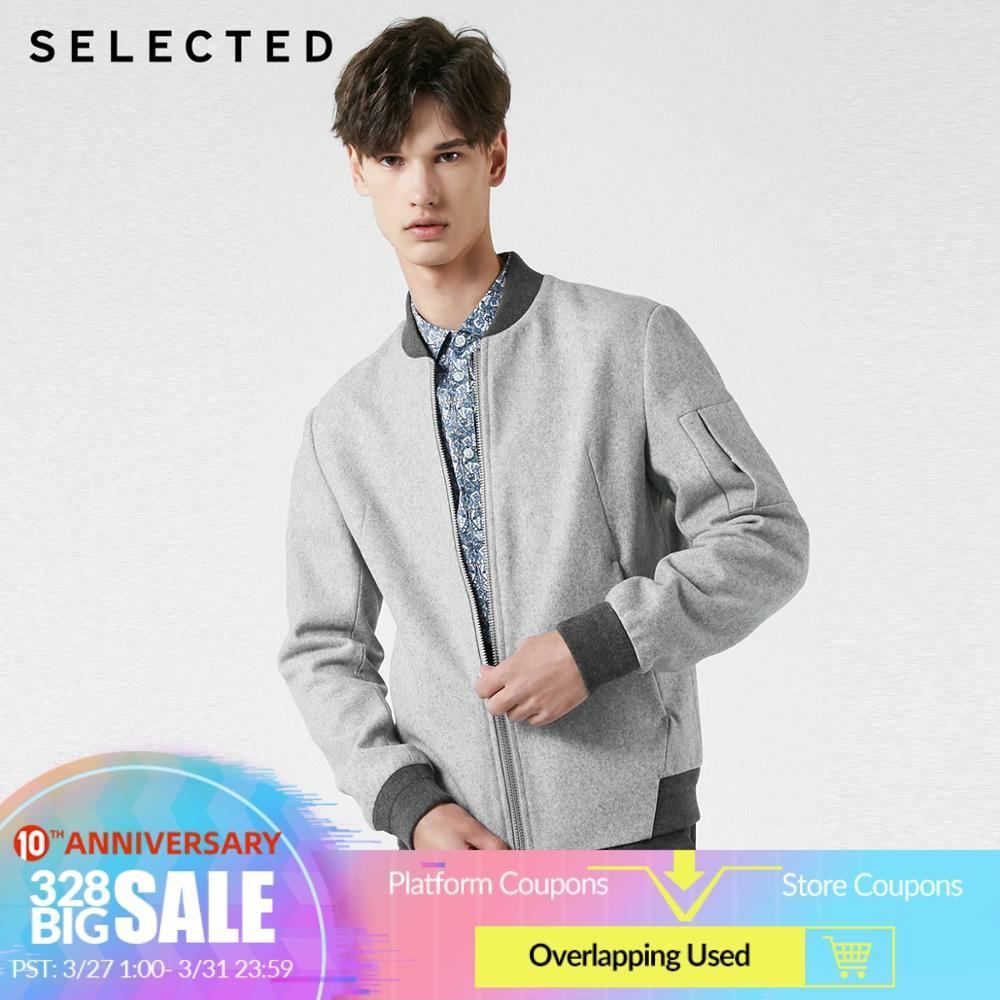 SELECTED Men's Woolen Baseball Collar Outwear Coat New Autumn Wool Overcoat S | 419127511