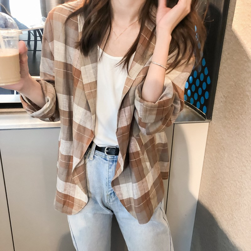 Korean Women Casual Long Sleeve Loose Blazers All Match Notched Linen Blazers Office Ladies Plaid Plus Size Blazers