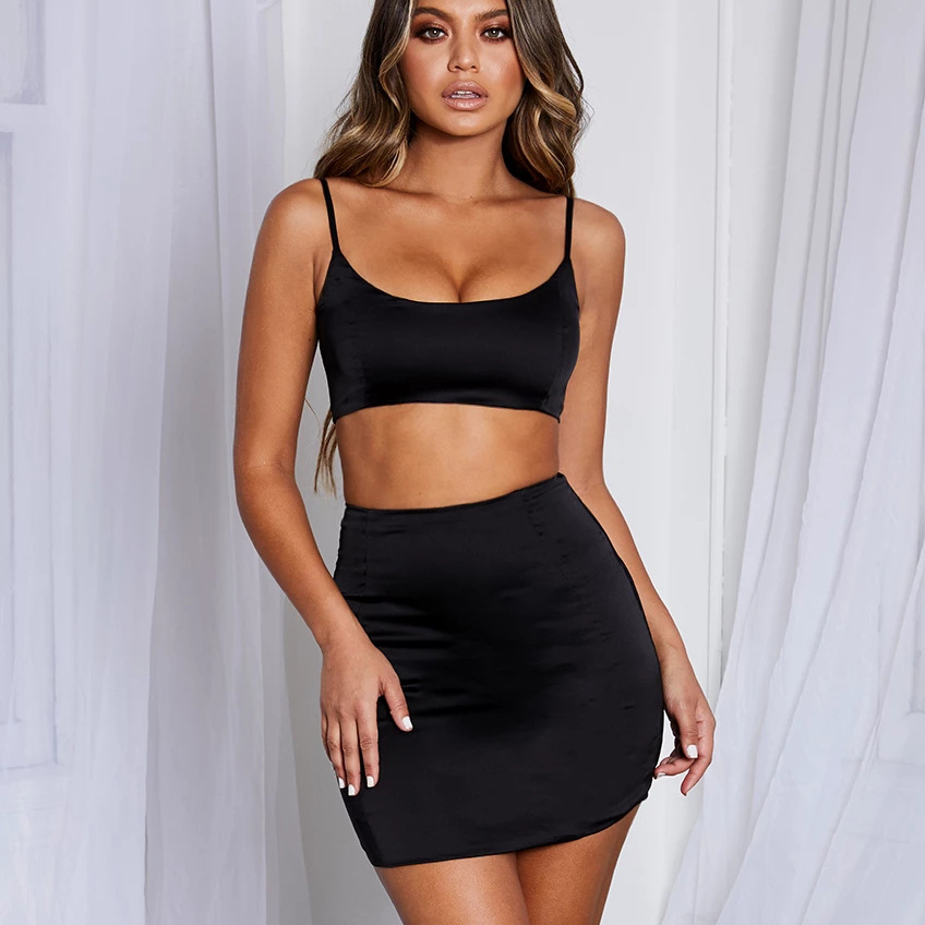 Sexy Satin Two Piece Set Crop Top And Skirt Women Matching Sets Night Club Suits 2 Piece Female Neon Tracksuit Club Outfits