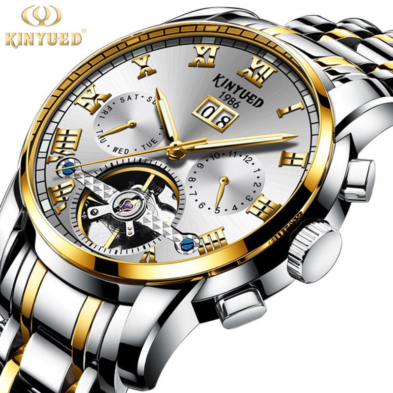 Watches Men Luxury Top Brand Automatic Mechanical Watch Men Business Stainless Steel Waterproof Relogio Masculino KINYUED 2019