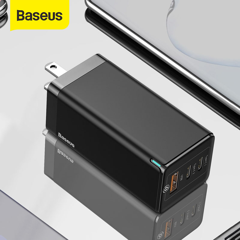 Baseus US Plug GaN Fast Charger 65W Quick Charge 4.0 3.0 USB C PD Charger 3 USB Ports Portable Charger For Smartphone
