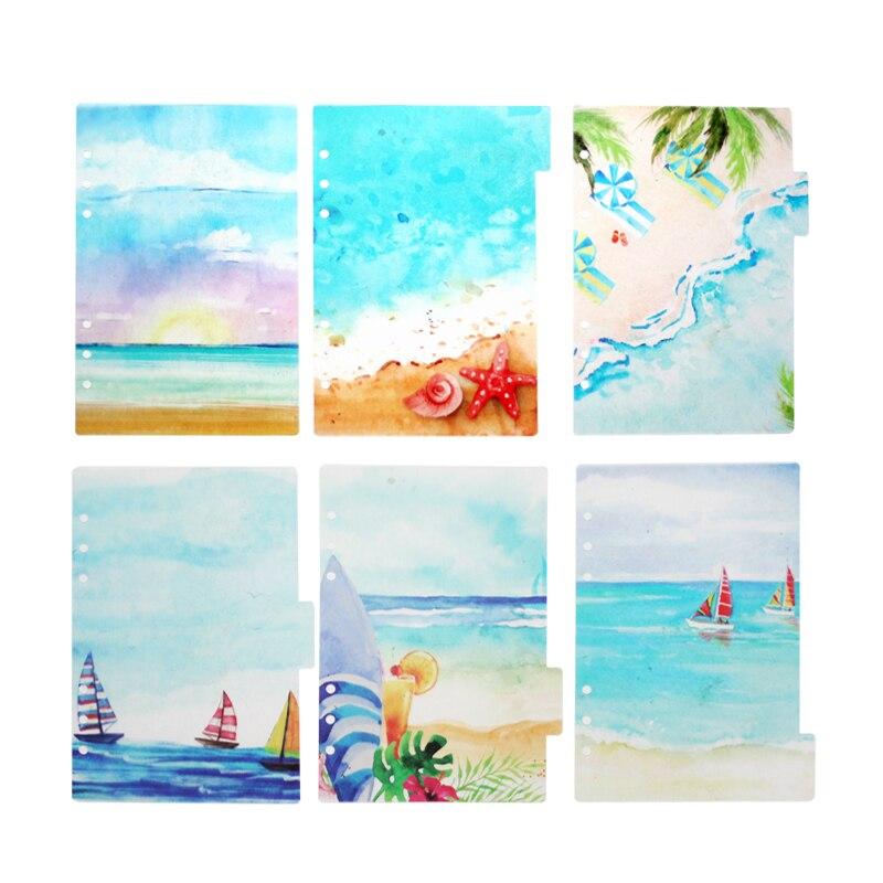 Летние пляжные милый Рассекатель, 6 шт./компл. с отрывными листами A5 A6 путешествия Тетрадь указатель страниц делитель, PP, связующий дневник а...