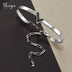 Thaya prawdziwe S925 srebrny styl uliczny w kształcie litery V bransoletka 18K złota bransoleta z różowego złota łańcuch dla kobiet mody biżuterii prezent