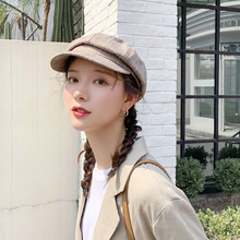 Retro Winter Octagonal Cap Girls Women Beret Hats For Newsboy Female British style Vintage Plaid Hat for Street