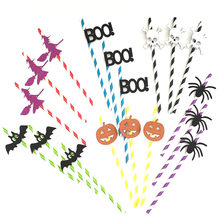 10pcs Halloween Horror Spider Skull Pumpkin Bat Witch BOO Paper Drinking Straw Halloween Decoration DIY Straws Photo halloween(China)