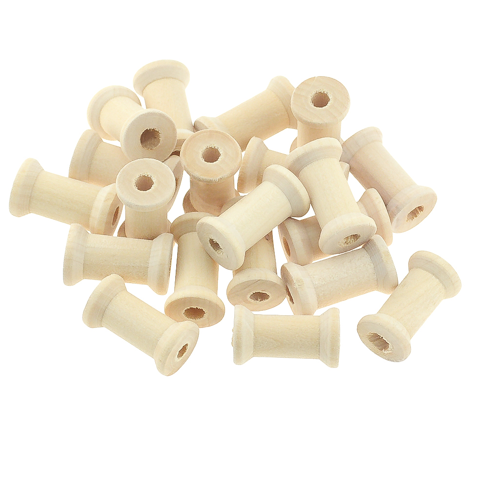10 Pcs Wooden Thread Spools Natural Color Spools Winding Axis 27x16mm DIY Toys Home Decoration Wood Handmade Crafts