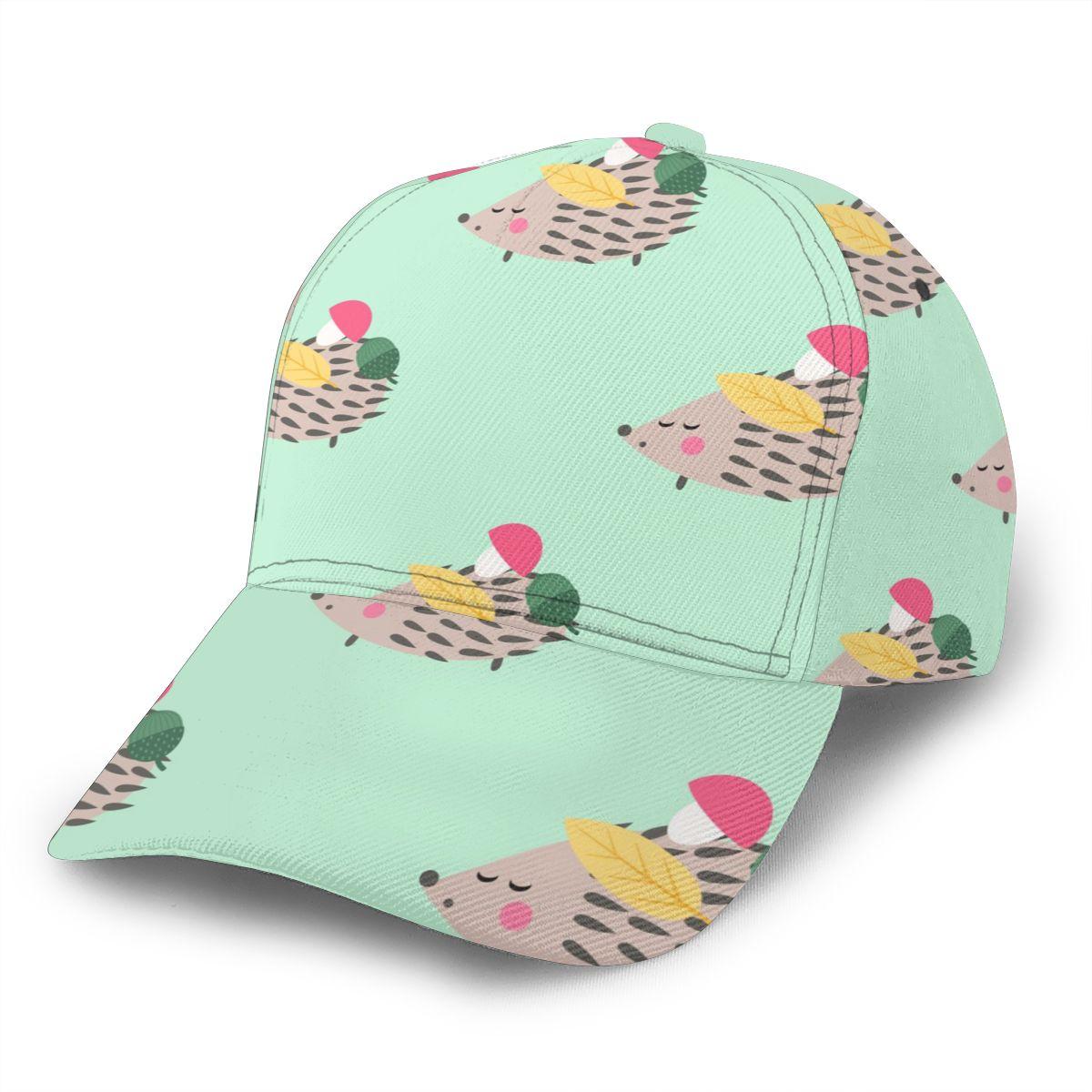 Hedgehog With Mushroom Acorn And Leaf Baseball Cap Fashion Men Hat Cap Summer Dad Hat Male Sports Hat