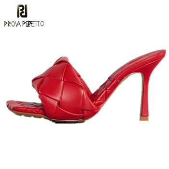 Prova Perfetto Mules Shoes Women Sexy Cross-criss Leather Slippers Square Toe High Heel slippers women Summer Celebrity Shoes