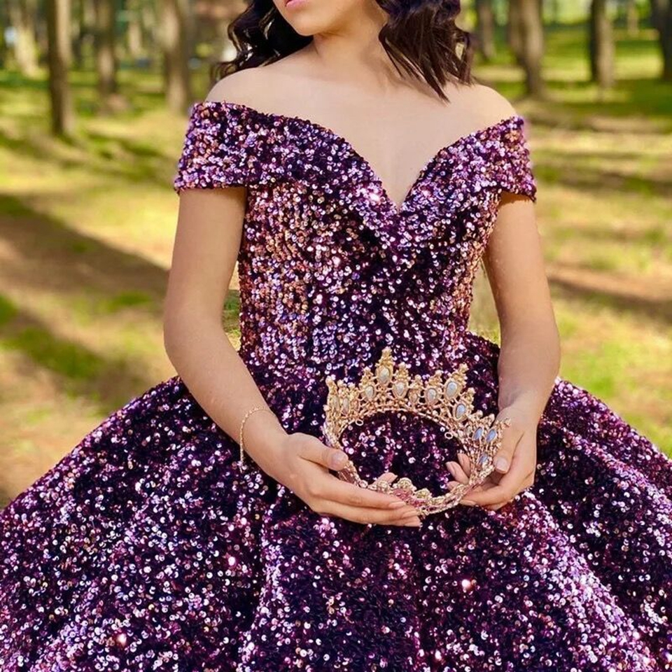 Luxury Ball Gown Sequin Evening Dresses 2020 Women Formal Party Night Off The Shoulder Robe De Soiree Elegant Long Prom Gowns