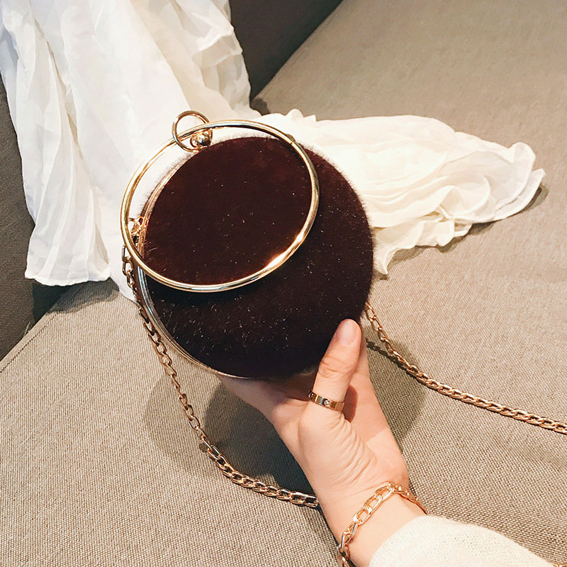 new hard shell hair women 39 s bag version fashion trend round ring handheld small round bag chain single shoulder oblique span bag in Shoulder Bags from Luggage amp Bags