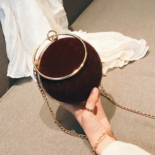 new hard shell hair women's bag version fashion trend round ring handheld small round bag chain single shoulder oblique span bag croc pattern round chain bag