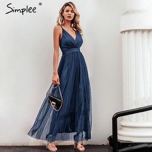 Image 4 - Simplee vestido de renda rosa feminino, malha, elegante, decote em v, para noite, maxi, para outono, inverno, sexy, longo, vestido de festa festa