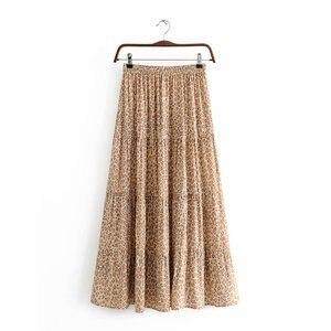 Image 2 - Vintage chic fashion Hippie women beach Bohemian leopard print Fold design skirt High Elastic  A Line Boho Maxi Skirt Femme