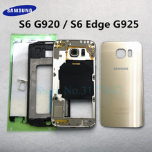 For SAMSUNG Galaxy S6 Edge G925F S6 G920F Full Housing Replacement Front Middle Frame Battery Back Glass Cover Rear Door Case