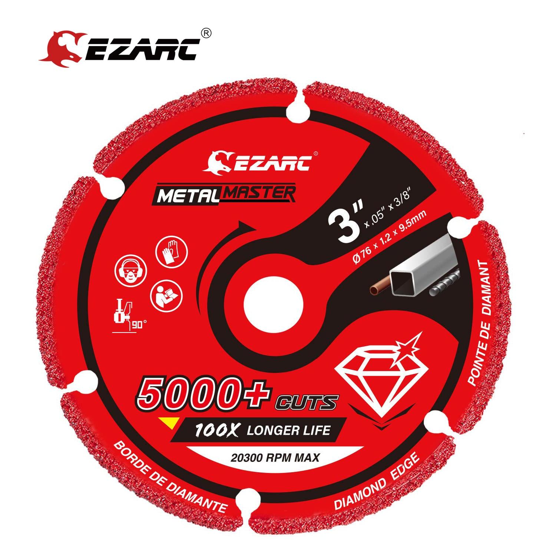 Алмазное режущее колесо EZARC 76 мм x 9,5 мм для металла, режущее колесо с 5000 + резами для арматуры, стали, железа и нержавеющей стали