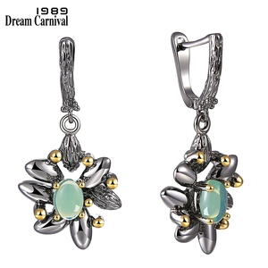 Image 3 - DreamCarnival1989 Vintage Flower Rings + Earrings Women Wedding Party Simulated Blue Opal Stone Black Gothic Jewelry  ER3890S2