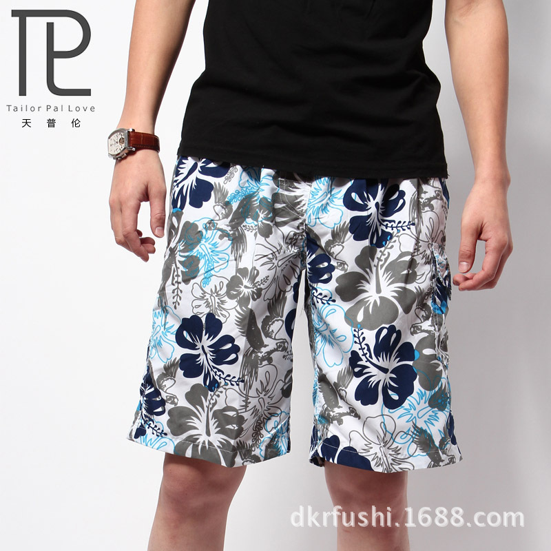 Days Pullen Fresh Men's Casual Pants Printed Beach Shorts Loose And Plus-sized Quick-Drying Distribution