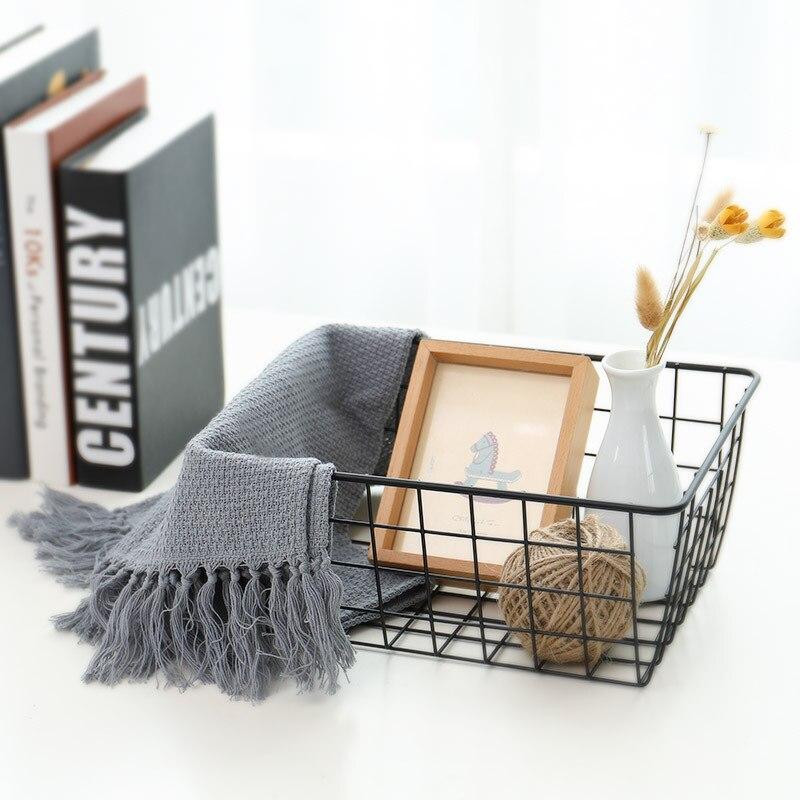 Household Japanese Style Bathroom Storage Basket Rectangular Iron Art Snacks Storage Basket Desktop Debris Book Storage Basket