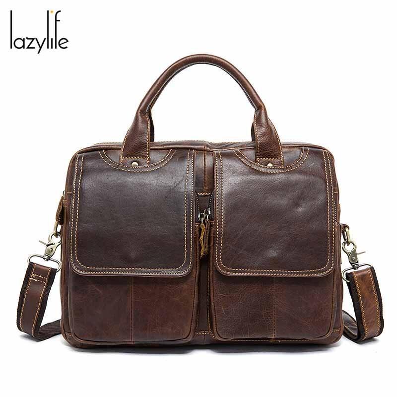 LAZYLIFE New Arrival High Quality Leather Man Messenger Bag Bag Set Brand Men's Briefcases Business Laptop Men Handbag