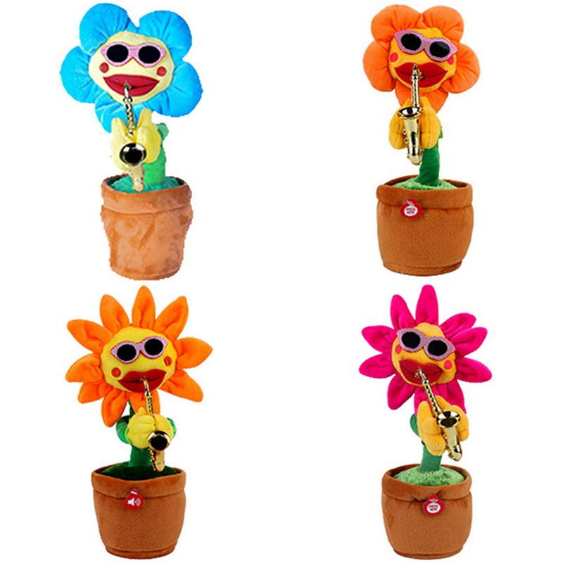 1pc Electric Toys Singing Dancing Blowing Saxophone Soft Plush Potted Sunflower Animated Dancing Flower Doll Music Toys
