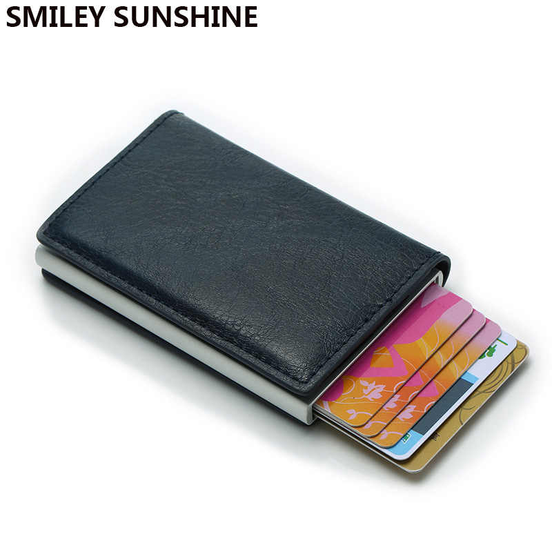 Metal Men Credit Card Holder Rfid Aluminium Business Bank id Creditcard Holder Leather Men Wallet Protection Automatic Card Case