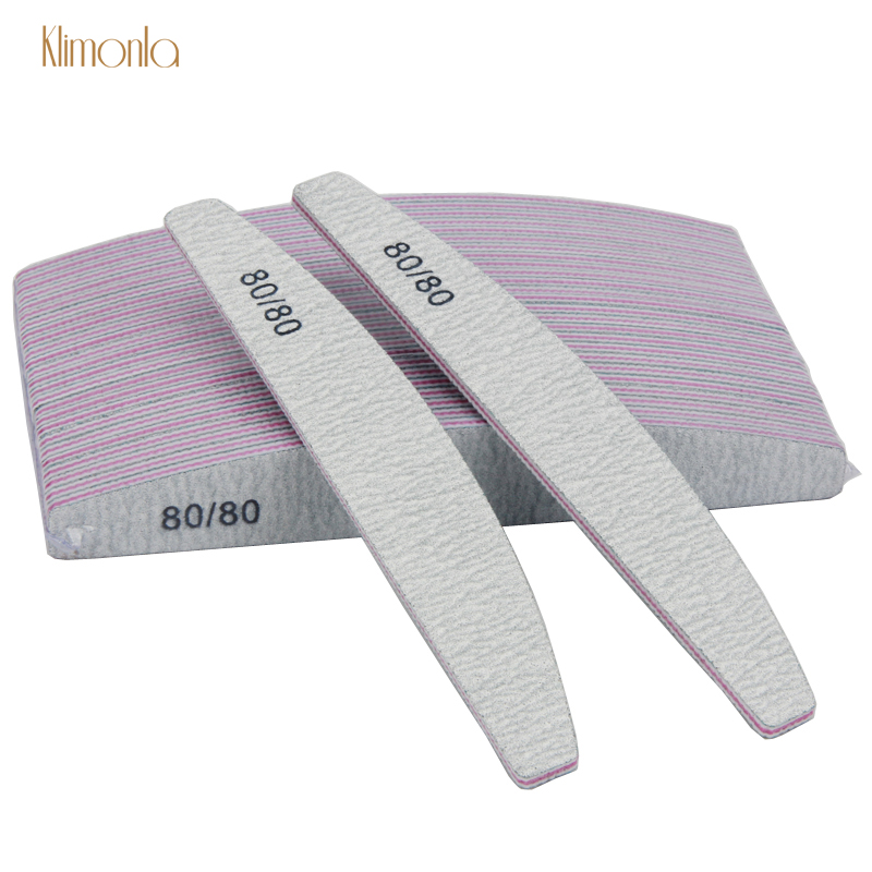 25Pcs/Lot Professional Nail File 80/80 Grit Crescent Moon For Sandpaper Manicure UV Gel Varnish File Salon Tools Supplier